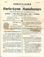CIRCULAIRE DE LA PARIS-LYON MANUFACTURE.PARIS 126 RUE REAUMUR.ECHANTILLONS DE SOIE. - Textile & Vestimentaire