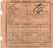 Récépissé Transport Colis Par Train 1916 - Chemins De Fer De L'Etat - Grande Vitesse - La Haye Du Puits Manche - Treni