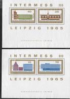 D.D.R. - INTERMESSE III LIEPZIG 1965 - 2 FOGLIETTI NUOVI SENZA GOMMA -  (YVERT BF18/19 - MICHEL BF23/24) - Esposizioni Filateliche