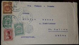L) 1923 COLOMBIA, COAT OF ARMS, BROWN, 3C, PROVISIONAL, GREEN, NARINO, 2C, CIRCULATED COVER FROM COLOMBIA TO SWITZERLAND - Colombia