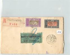 Lettre Recommandée  Du DAHOMEY- Voyagée De Porto-novo à St Etienne En 1929 - Dahomey (1899-1944)