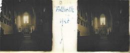 Plaque De Verre Stéréoscopique Positive - Année 1947 - Folleville - L'Église - Intérieur - Diapositiva Su Vetro