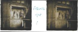 Plaque De Verre Stéréoscopique Positive - Année 1947 - Folleville - L'Église - Tombeau De Raoul De Lannoy - Diapositiva Su Vetro