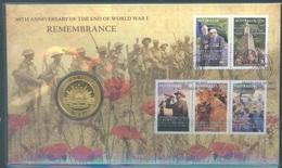 AUSTRALIA -  FDC  - 3.11.2008 - REMEMBRANCE - 90th ANNIVERSARY END OF WORLD WAR I - 1 $ COIN  - Lot 19360 - Primo Giorno D'emissione (FDC)