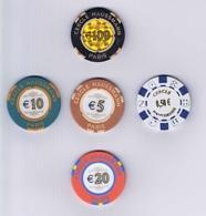Casino Chip Set 0,50-5-10-20-100€ Cercle Haussmann Paris France - Casino