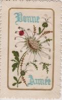 CARTE BRODEE FLEUR PAQUERETTE BONNE ANNEE - Embroidered