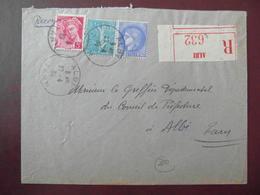 1938 - LETTRE RECOMMANDÉE CAD ALBI TARN AFFRANCHIE 2F80 Avec SEMEUSE LIGNÉE MERCURE CERES 2F25 - 1921-1960: Modern Period