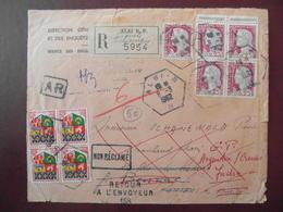 1962 - LETTRE RECOMMANDÉE CAD HEXAGONAL RECETTE AUXILIAIRE ALBI B TARN AFFRANCHIE DECARIS ORAN BLOC De 4 AR RETOUR RAE - 1921-1960: Periodo Moderno