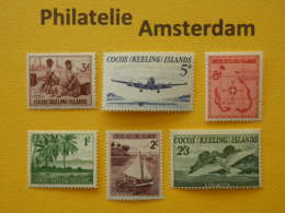 Cocos (Keeling) Islands 1963, FIRST ISSUES / FAUNA BIRDS AIRPLANE: Mi 1-6, ** - Cocoseilanden