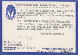 Germany Deutsches Reich PERAGIS-SAATZUCHT, KLEIN WANZLEBEN 1932 Card Karte Ebert (2 Scans) - Deutschland