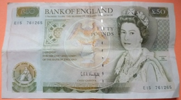 BILLET ENGLAND FIFTY POUNDS - SCANS RECTO VERSO - 1952-… : Elizabeth II