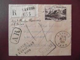 1951 - LETTRE RECOMMANDÉE CAD LAVAUR TARN AFFRANCHIE 50F TIMBRE SEUL GERBIER DE JONC GRIFFE AR RETOUR ENVOYEUR 1989 RAE - Postmark Collection (Covers)