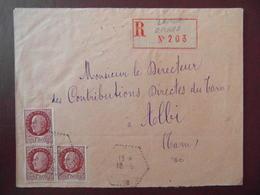 1943 - LETTRE RECOMMANDÉE CAD CORRESPONDANT POSTAL N° 3 LAVAUR TARN AFFRANCHIE 4F50 PETAIN 1F50 X 3 - Postmark Collection (Covers)