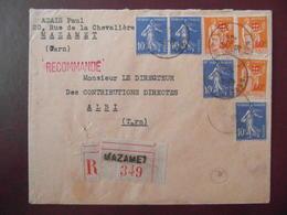 1936? - LETTRE RECOMMANDÉE CAD MAZAMET TARN AFFRANCHIE 2F80 PAIX SURCHARGE + SEMEUSE 10c X 4 GRIFFE ROUGE - 1921-1960: Modern Period