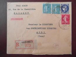 1938 - LETTRE RECOMMANDÉE CAD MAZAMET TARN AFFRANCHIE 2F80 CERES + SEMEUSE 5c ET 50c LIGNÉE - 1921-1960: Modern Period