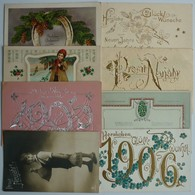 MIXED LOT 8 OLD LITHO POSTCARDS - NEW YEAR GREETINGS , NEUJAHRSGRÜSSE - Cartoline