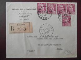 1952 - LETTRE RECOMMANDÉE CAD MAZAMET TARN AFFRANCHIE 50F Avec GANDON 10F X 5 ENTETE USINE DE LINOUBRE - 1921-1960: Modern Period