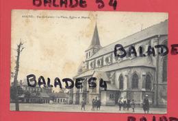 CPA - AUCHEL (62) La Place, Eglise Et Mairie (très Animée) Attention état Tâches - Other Municipalities