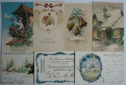 MIXED LOT 7 OLD LITHO POSTCARDS - VARIOUS GREETINGS , VERSCHIEDENE GRÜSSE - 5 - 99 Karten