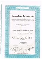 Titre Ancien - Immobilière De Mouscron Société Anonyme - Titre De 1966 - Actions & Titres