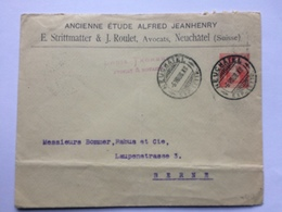 SWITZERLAND 1908 Cover Neuchatel To Berne - Louis Thorens Avocats - Svizzera