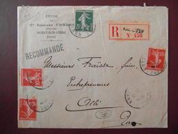 1912 - LETTRE RECOMMANDÉE CAD MURAT SUR VEBRE TARN AFFRANCHIE 35c Avec SEMEUSE 10c X 3 + 5c ENTETE EDOUARD CORDES - 1877-1920: Période Semi Moderne