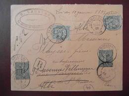 1906 - LETTRE RECOMMANDÉE CAD PAMPELONNE TARN AFFRANCHIE 40c Avec BLANC 5c X2 + SEMEUSE 130 15c LIGNÉE - Postmark Collection (Covers)