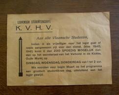 Mededeling  K . V . H . V . 1939  STUDENTENCORPS   LEUVEN - Faire-part