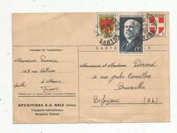 Sur Cp Retour De Speditions A.G.BALE ,navigation,  LE MANS GARE ,1950,  Sarthe, 3 Timbres - Marcophilie (Lettres)