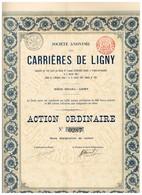 Titre Ancien - Société Anonyme  Des Carrières De Ligny - Titre De 1896 - Mines