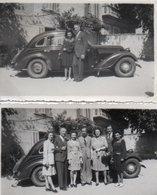 93Mq Lot De 2 Photos Automobile Tacot Triumph Adler 2L Version Karmann à Peyrolles En 1946 - Voitures De Tourisme