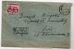 Poland Ukraine Registered Lwow  1937 - 1919-1939 Republic