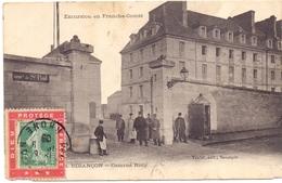 Carte Avec Porte Timbre Dieu Protege La France 5 C Semeuse Et Taxe - 1877-1920: Periodo Semi Moderno