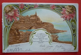 ANGELS - OLD LITHO POSTCARD TIPO GRUSS 1902 - Engel