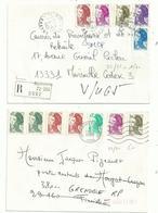4 L Dont 3lr  .....affranchies Avec Timbres  LIBERTE ,  4  Ou 5 Ou 6 Couleurs Utilisées,  TARIFS  Différents.....à Voir - 1982-90 Liberté De Gandon