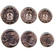 Latvija, 2014, Set Of 1, 2, 5 Euro Cents - Lettonie