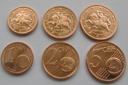 Lithuania, 2015, Set Of 1, 2, 5 Euro Cents - Lithuania