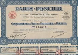 PARIS - FONCIER -LOT DE 10 ACTIONS DE CINQUANTIEME DE PART DE FONDATEUR -1927 - Banque & Assurance