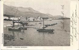 FORMIA - BARCHE E PANORAMA - F. PICCOLO (retro Indiviso) - VIAGGIATA 1904 - (rif. I17) - Latina