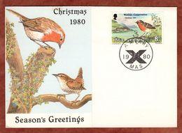 Klappkarte, Weihnachten, Rotkehlchen, 1980 (72002) - Isle Of Man