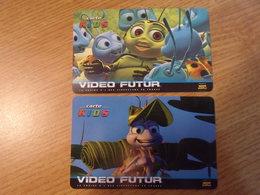 """TLTL / Cartes Vidéo Futur N° : VF/KID3 Et VFKID4 ,  Textes Différents  """" Tous Les Videoclubs De La Chaine  VIDEO FUTUR"""" - Frankrijk"""