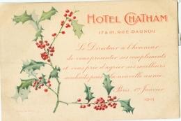 Paris 1901; Hôtel Chatham (Rue Daunou) - Non Voyagé. (propre édition) - Pubs, Hotels, Restaurants