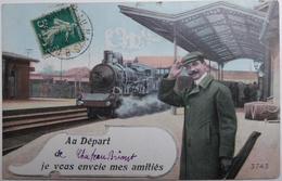 Département 44 - Au Départ De Chateaubriant Je Vous Envoie Mes Amitiés - CPA Fantaisie 1912 - Railway