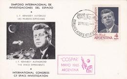 "JOHN KENNEDY AUTORIZO PRUEBAS ESPECIALES ATHORIZED THE SPACE EXPERIMENTS-SPC 1966 BUENOS AIRES CARD ""COSPAR""- BLEUP - Kennedy (John F.)"
