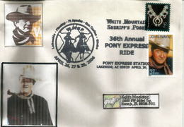 Hommage à John Wayne. Pony Express Ride.Lakeside, Arizona, Lettre Adressée En Floride - Acteurs