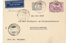 Nederlands Indië - 1931 - 2 & 10 Cent Op LP-drukwerkje Van LB VLIEGVELD/ANDIR Naar Batavia - Nederlands-Indië