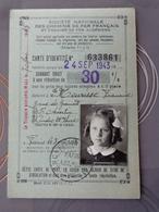 SNCF CHEMIN DE FER FRANÇAIS ET ALGERIEN CARTE DE REDUCTION 24 SEPTEMBRE 1943 SAINT AVERTIN - Transportation Tickets