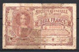 329-Belgique Société Générale Billet De 2 Francs 1915 G030 - [ 2] 1831-... : Belgian Kingdom