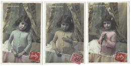 Fantaisie - Lot De 3 CPA - Le Lever De Bébé - 1907 - Même Destinataire - Bébés