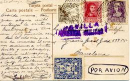 "1939 "" Postal De Sevilla A Barcelona "" Por Avion, Censura  Y Sello Local - Marcas De Censura Nacional"